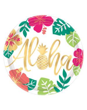 Sett med 8 stor Aloha tallerkener