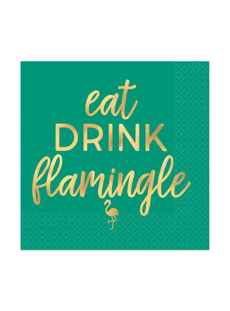 16-teiliges Getränke Servietten Set mit Flamingo Motiv