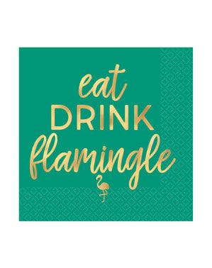 סט 16 פלמינגו שותה מפיות
