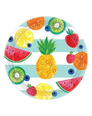 Sett med 8 stor Tutti Frutti tallerkener