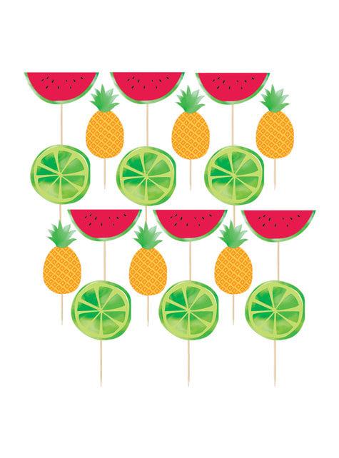 24 toppers decorativos decorados tutti fruti