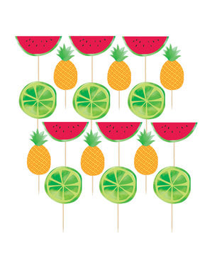 24 toppers decorativos decorados tutti fruti