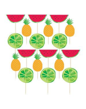 Set 24 dekorationspinnar tutti frutti