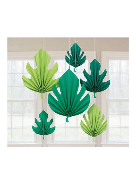 6 hojas de palmera decorativas colgantes