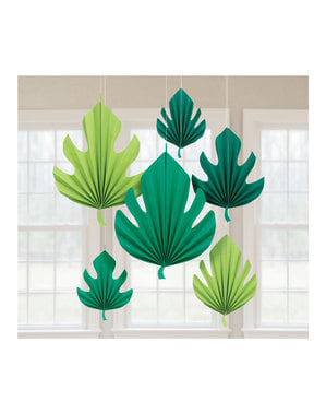 6 hanging decorative palm tree leaves