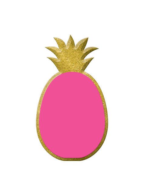 Quadro de ardósia decorativo de ananás rosa e dourada