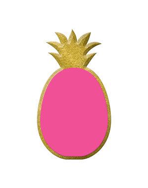 Pizarra decorativa de piña rosa y dorada
