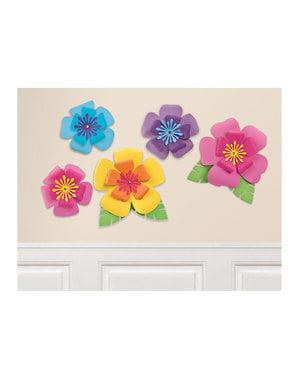 5 flores havaianas decorativas