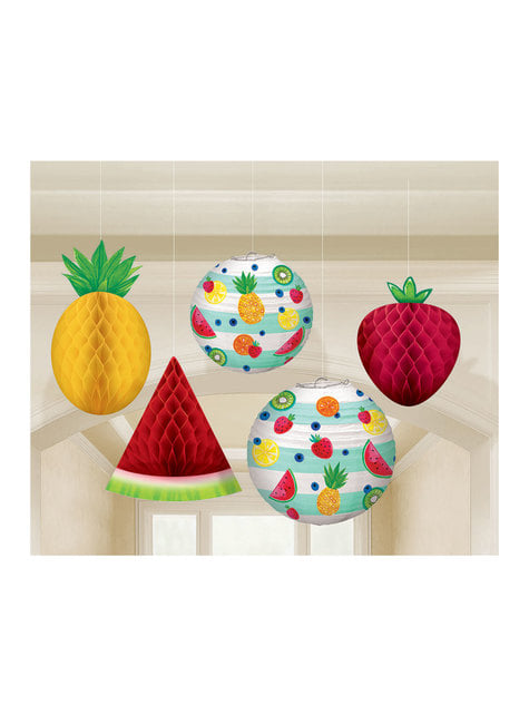 5 hangende tutti fruti decoratie set