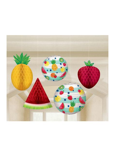 5 hanging tutti fruti decoration set