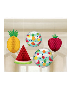 5 hanging tutti fruti decoration set