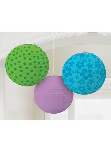 Conjunto de 3 esferas decorativas de pendurar estampadas cores frias