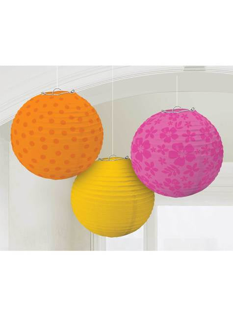 Set de 3 esferas decorativas colgantes estampadas colores cálidos