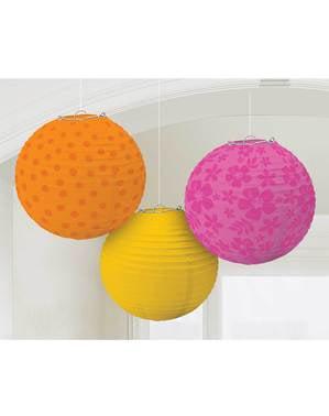 3 esferas decorativas colgantes estampadas colores cálidos