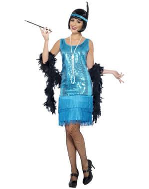 Sininen Flapper-tyttö-asu aikuisille