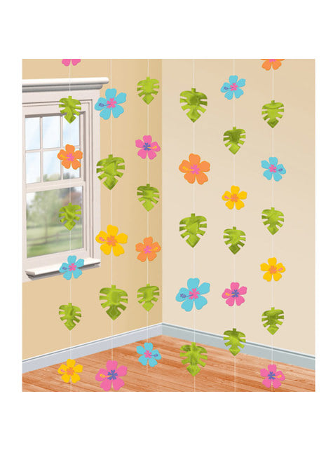 Cortina de flores de hibisco e folhas de palmeira
