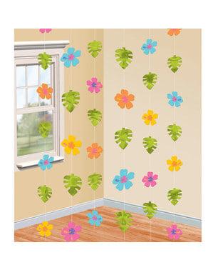 Rideau fleurs d'hibiscus et feuilles de palmier