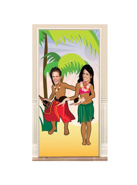 Cartaz para porta com figuras havaianas personalizável