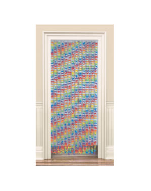 Curtain with multicoloured flowers
