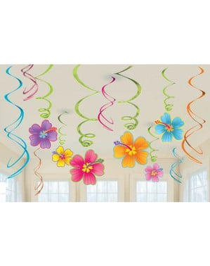 Sæt af 12 hængende hawaii dekorationer