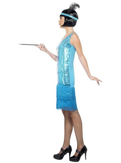 Disfraz de charlestón años 20 azul - original