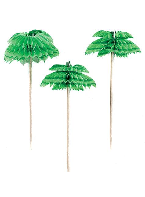 Conjunto de 12 palitos decorados com palmeiras