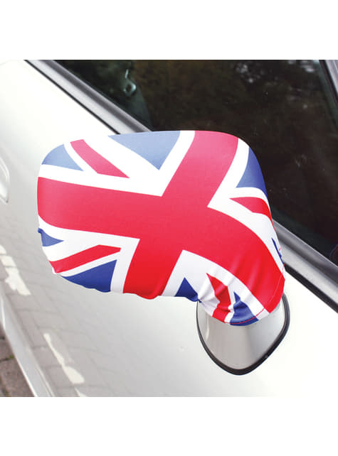 2 cubre retrovisores de coche con la bandera de Reino Unido