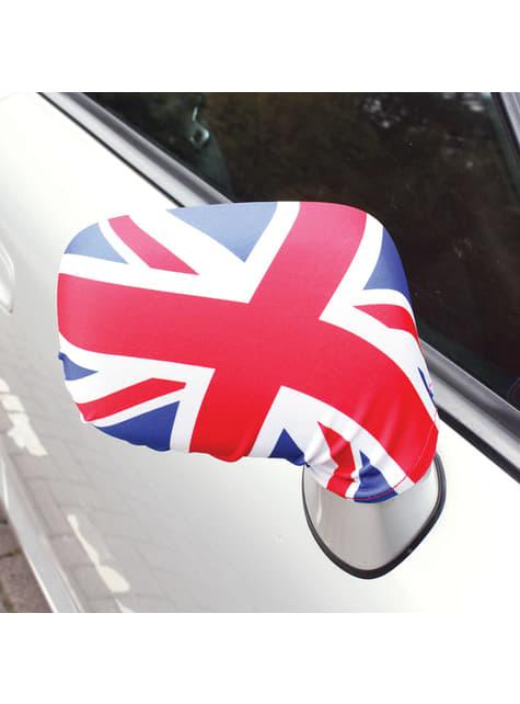 2 tapa-retrovisores de carro com a bandeira do Reino Unido