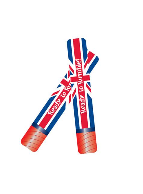 Set de 2 porras hinchables con la bandera de Reino Unido