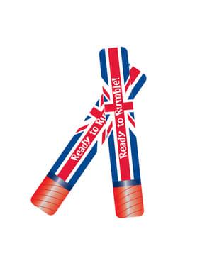 2 porras hinchables con la bandera de Reino Unido