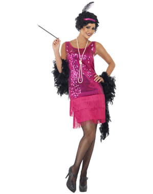 Pink Flapper Girl Adult Kostum