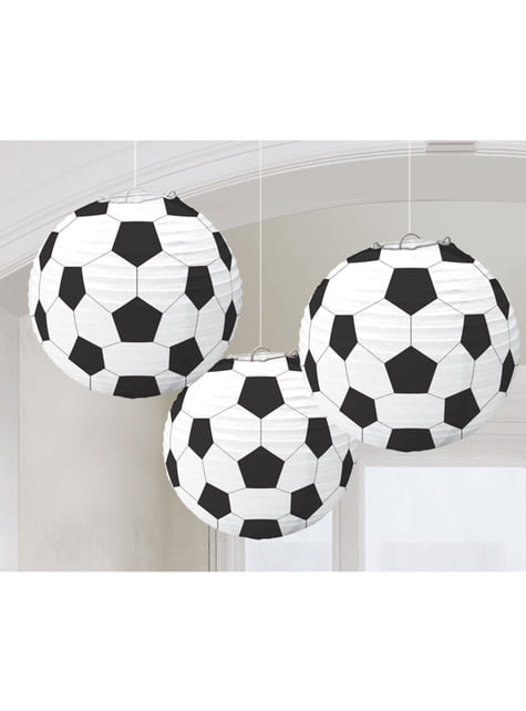 Set of 3 Football hanging decorative spheres