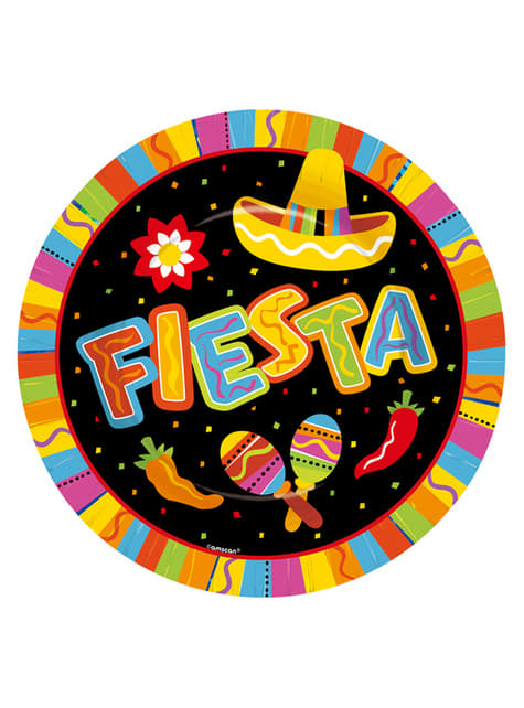 Set of 8 Fun Mexican Party plates