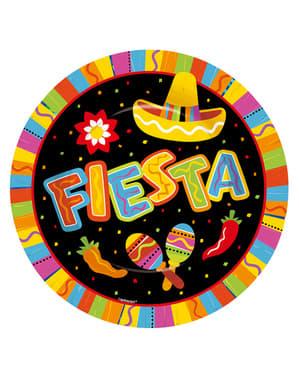 Sæt af 8 sjove mexicanske fest tallerkner
