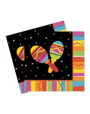 16 Serviettes en papier soirée mexicaine fun