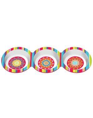 Tripla bandeja para festa mexicana