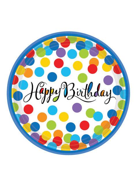 18 kleurrijke polka dots borden
