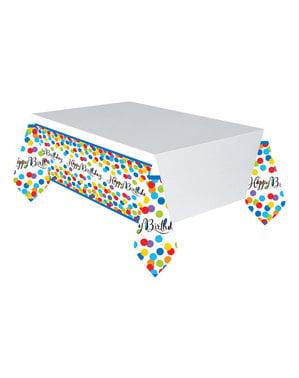 Happy Birthday multicoloured polka dots tablecloth