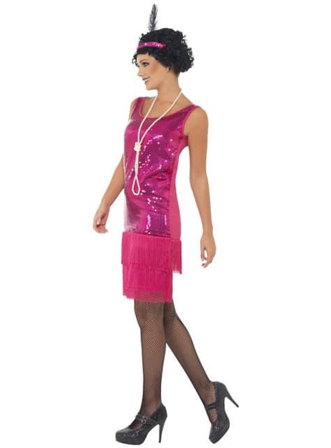 Fato de Charleston cor-de-rosa para mulher