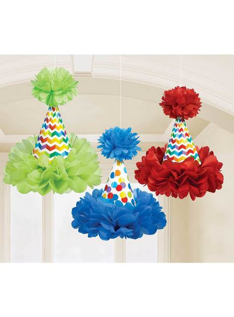 3 hanging colourful polka dots cones with pom poms