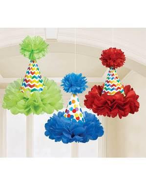 3 conos con pompón colgantes de lunares de colores