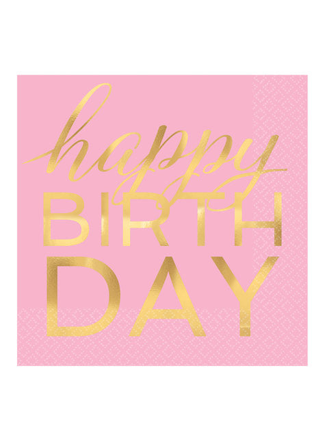 16 pink and gold happy birthday napkins (33x33 cm)