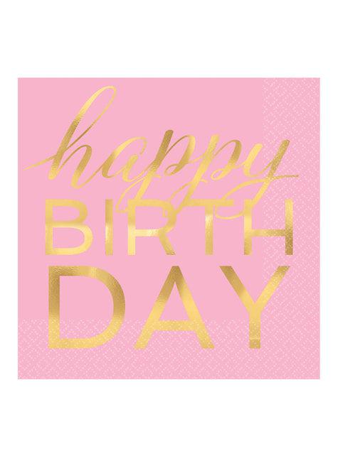 16 roze gouden happy birthday servetten