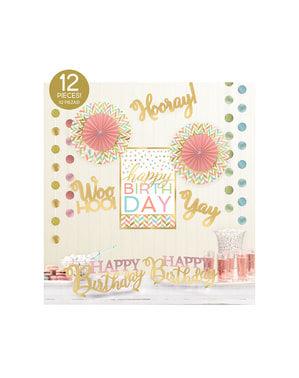 Kit de decoração para quarto happy birthday