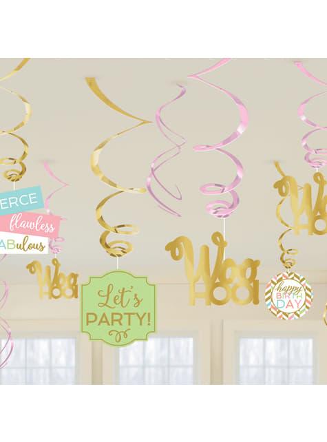 12-teiliges Aufhänger Deko Set mit Happy Birthday Motiv