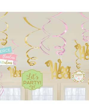 Set van 12 hangende Happy Birthday decoraties