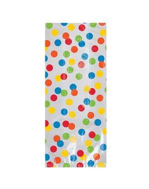 20 bolsas de chucherías de lunares de colores