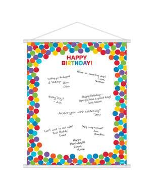 Poster de firmas con lunares de colores