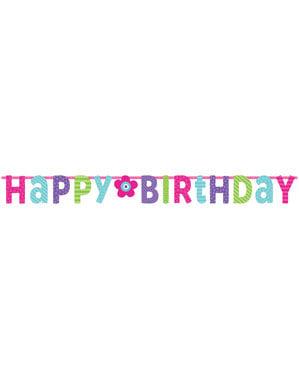 Guirnalda de cumpleaños brillante con flor
