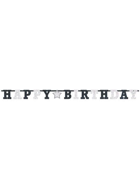 Guirnalda de cumpleaños blanca y negra brillante